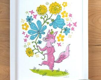 Flower Fox, 8 in x 10 in archival print