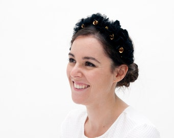 Flora - Floral birdcage headband with veil made with organza flowers and golden brass flowers