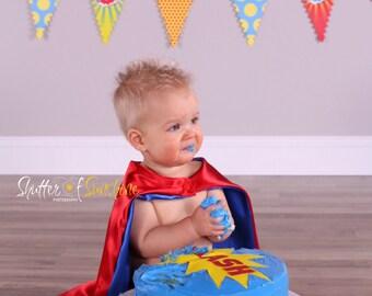 Plain satin cape: cake smash super hero theme photography prop, first birthday photo, superhero cape