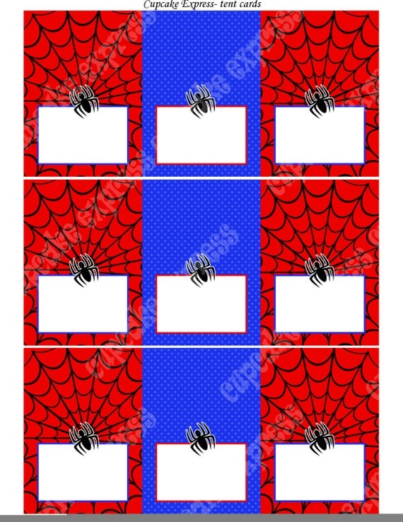Spiderman INSTANT Printable Tent Cards Food Labels Birthday Party DIY ...