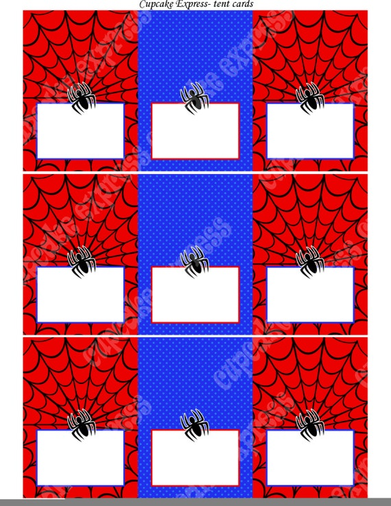 Spiderman INSTANT Printable Tent Cards Food Labels Birthday Party DIY