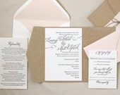 The Rosebud Suite - Letterpress Wedding Invitation Suite, Calligraphy, Script, Swirls, Classic, Blush, Rustic, Lace, brown, Kraft, pink