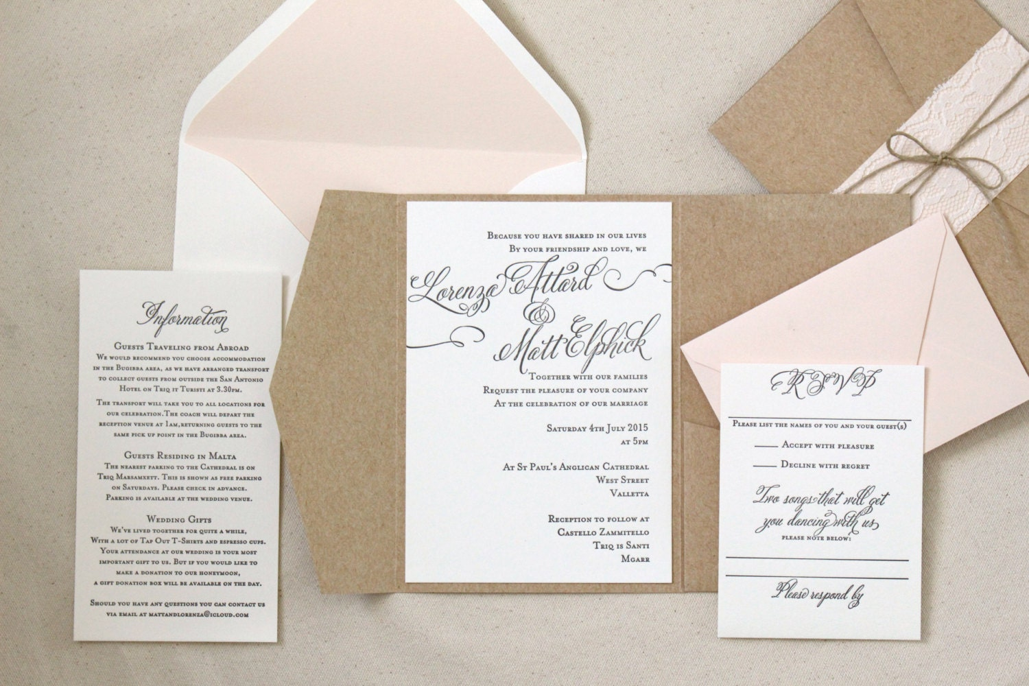 Wedding Invitation Suite Templates: The Rosebud Suite Letterpress Wedding Invitation Suite