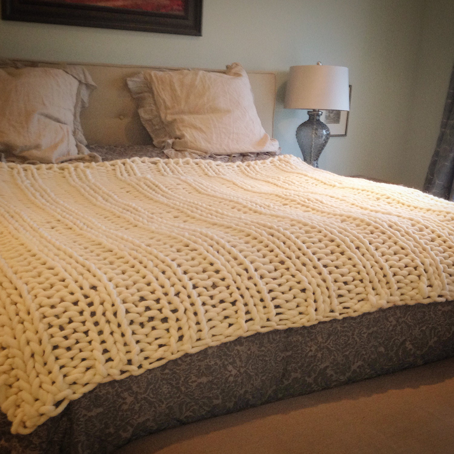 Giant Knitting Blankets : Giant knit chunky blanket throw knitted