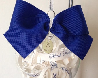Personalized Wedding Invitation Ornament with Bow and Charm