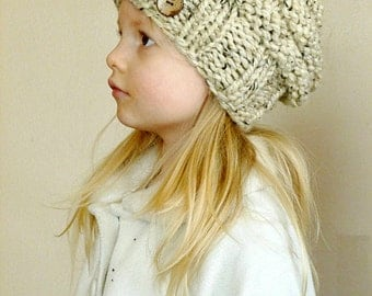 Hand Knit Toddler Slouchy Hat YOUR COLOR CHOICE with 2 Coconut Buttons, Toddler Slouch Beehive Hat, Kids Hat, Knit Slouchy Boys Beanie Hat