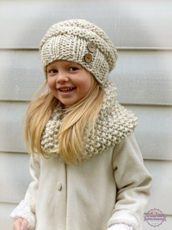 Hand Knit Toddler Kids Slouchy Hat and Cowl Scarf Set in