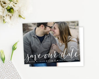 Modern Script Photo Save The Date Card, Postcard, Magnet
