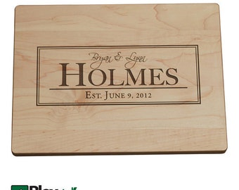Personalized Engraved Cutting Board with Last Name Design, Personalized Wedding Gift, Bamboo, Custom Cutting Board
