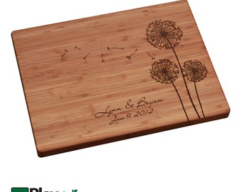 Personalized Engraved Cutting Board with Dandelion Design, Personalized Wedding Gift, Custom Cutting Board, Wedding Present,Gift