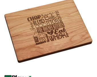 Personalized Engraved Cutting Board Word Cloud Design 11x16x3/4Thick, 9x12, Personalized Wedding Gift, Custom Cutting Board,Gifts,Christmas