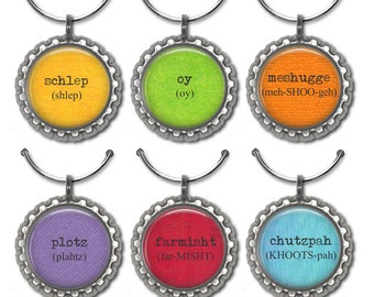 Yiddish word wine glass charms Jewish humor party favor drink tag Hanukkah gift.