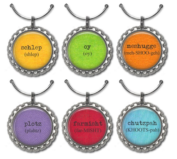 yiddish word wine glass charms jewish humor party favor