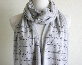 "Pride and Prejudice ""I declare after all..."" - Reading Quote Book Scarf - Literary Quote Jane Austen Scarf - Book lovers scarf"