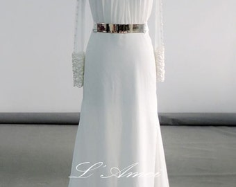 Romantically Inspired Long Sleeve High Neck Ivory Wedding Bridal Dress with Just the right amount of Sheer !