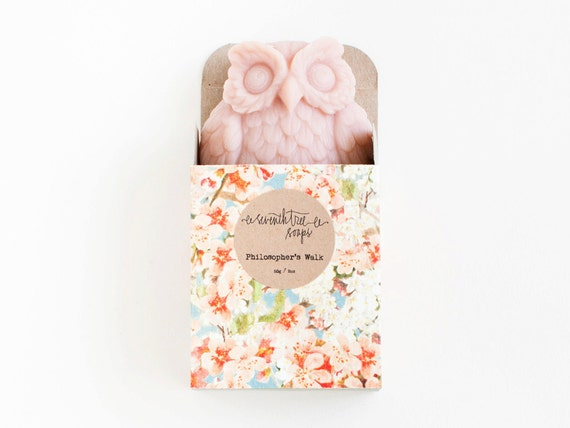 Cherry Blossom Owl Soap - Natural, Handmade, Cold Processed, Vegan.