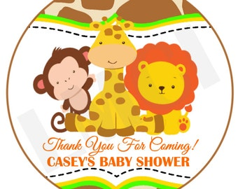 Baby Safari Favor Tag - Digital File