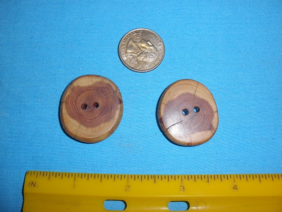 Wood Buttons 2 Red Cedar Tree Branch 2 Hole By