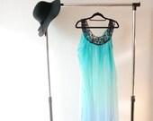 OMBRE beach tunic ~ Blue ombre ~ Chiffon dress ~ Beaded applique ~ Summer dress ~ Elegant beach cover up ~ Beach tunic ~ Beach dress