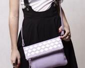 Leather crossbody bag. Lavender foldover leather purse, hand painted silver geometric decor. Purple cross body clutch.