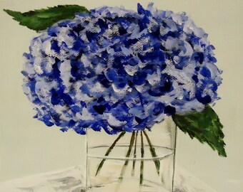 Flower painting - Blue Hydrangeas- Original on 8x8 canvas