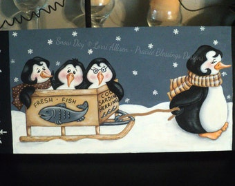 Snow Day, penguins in the snow Winter painting pattern packet instant download