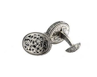 Big oval engraved filigree  cufflinks in sterling silver, mens silver cufflinks, antique style