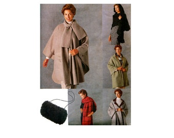 VOGUE HOODED WRAPS Shawls Muff Pattern Reversible Shawl Jacket Vintage Look Accessories Pattern Vogue 9891 UNCuT 90s Women's Sewing Patterns