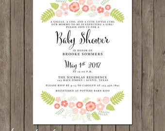 Printable Baby Shower Invitation - the Brooke Collection