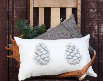 Pinecone Rectangle Pillow, throw pillow, linen pillow, made in Australia, organic wool pillow, home decor, sofa pillow,original artwork