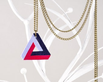 Penrose Triangle Necklace Pastel Blue Dark Blue And Fuchsia Pink With Necklace Of Brass