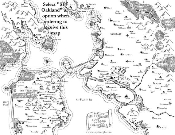 Fantasy map of San FranciscoOaklandBay Area