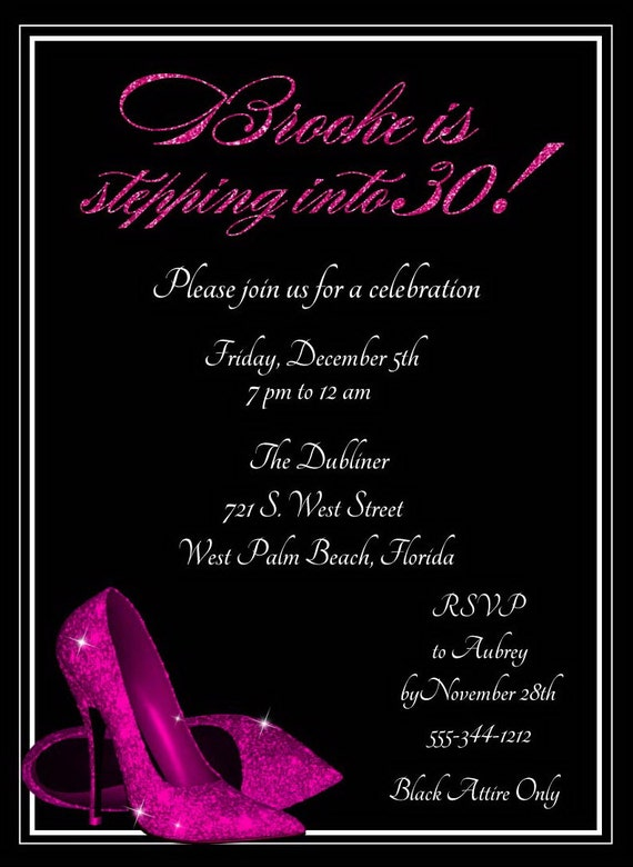 Hot Pink Glitter Shoes Birthday Invitation by AnnounceItFavors