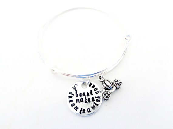 Daughters Gift, A Dream is a Wish Your Heart Makes Hand Stamped Bangle Bracelet Customizable
