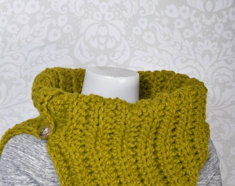 Button Cowl in chartruse green