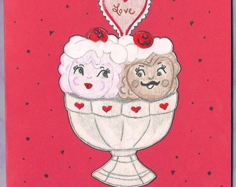 Ice Cream Valentine Card - Valenrine's Day Ice Cream Card - Vintage Style Valentine's Day Card