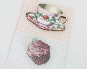 Vintage Style Tea Cup and Cup Cake Magnet Set Lilac Kitchen Decor Roses Teacup and Iced Cupcake Magnets