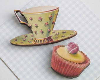 Tea Cup and Cup Cake Magnet Set Laser Cut Wood Mint Green China Teacup + Iced CupCake Kitchen Decor Gift for Tea Lovers