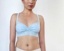 Baby Blue Lace Bralette. Soft Wireless Bra top. Unique Lingerie