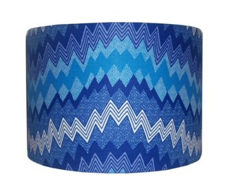Blue Chevron Drum Lampshade, Back To School, Dorm Room Decor, 30cm Handmade lampshade, Nursery Room Decor, Ankara Lampshade, Detola and Geek