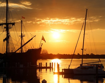 Harbor Photo, Sunrise Photograph, Boats Print,  El Galeón, Ships in Port, St Augustine, Nature print, Yellow Sunset, tranquil sea, Seascape
