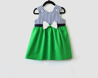 Nautical Green Girl Dress - Toddler Dress -Summer dress- Baby Girl Sailor Dress - Baby Dress 6M - 4T
