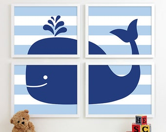 Baby Whale Nursery Art for Kids, Nautical Nursery Art, Boy Nursery Whale Art, Kids Bathroom Decor, Kids Nautical Decor, Whale Wall Art Print