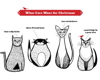 Set of 4 / A Cat's Christmas Card