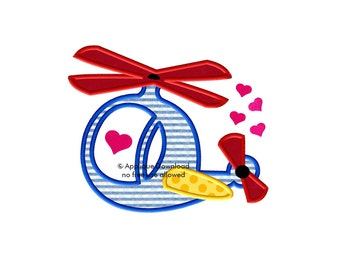 Helicopter - Valentine's Day Applique Design - 3 sizes - Instant EMAIL With Download