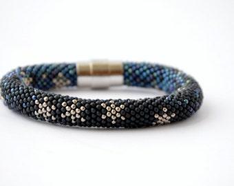 One Winter's Night  - Bead Crochet Bracelet