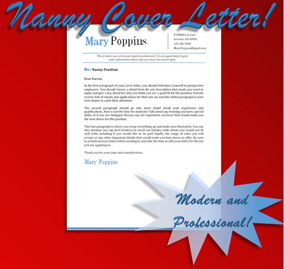 Items similar to Nanny Cover Letter Template