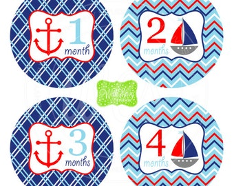 Nautical Baby Monthly Stickers - Baby Bodysuit Stickers - Monthly Baby Stickers - Boy Monthly Stickers - 020