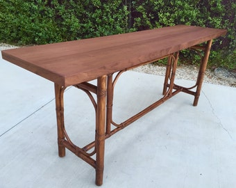 SOLD - Vintage McGuire Leather Wrapped Bamboo Cane Rattan Console Base with Walnut Top