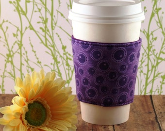 Purple Bubbles Coffee Cozy - Purple Coffee Cozy - Coffee Cozy - Fabric Coffee Cozy - Tea Cozy